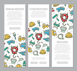 Set of three digital construction vertical banners with icon pattern. Vector illustration