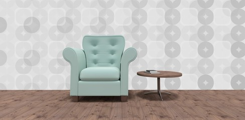 Composite image of empty armchair by table on hardwood floor