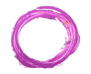 Purple circle grunge brush strokes oil paint isolated on white background