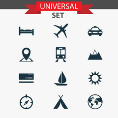 Journey Icons Set. Collection Of Railway Carriage, Guide, Booth And Other Elements. Also Includes Symbols Such As Mountain, Compass, Railway.