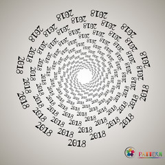 Background. Figures in the spiral 2018, new year, holiday, beginning of the year, isolated, object