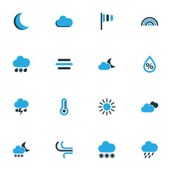 Climate Colorful Icons Set. Collection Of Cloudy Sky, Wind, Thunderstorm And Other Elements. Also Includes Symbols Such As Lightning, Variegation, Snowfall.