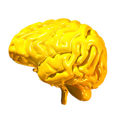 3d render of a golden human brain isolated on white background