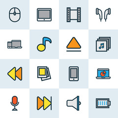 Multimedia Colorful Outline Icons Set. Collection Of Karaoke, Devices, Forward And Other Elements. Also Includes Symbols Such As Headset, Mouse, Earmuff.