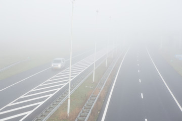 Fog on the A2 highway in Amsterdam