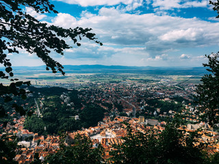 Aerial Drone View Of Brasov City In Romania