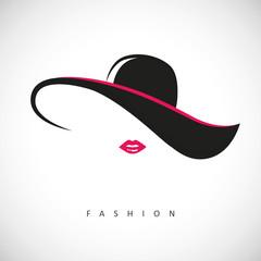 fashion lady mit hut und pinken lippen