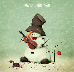 Holiday greeting card with snowman playing  violin for  Joyful Christmas .