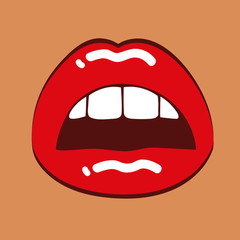 rote lippen geöffneter frauenmund