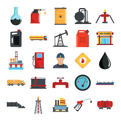 Oil gas industry flat icons set with offshore platform drilling rig and tanker
