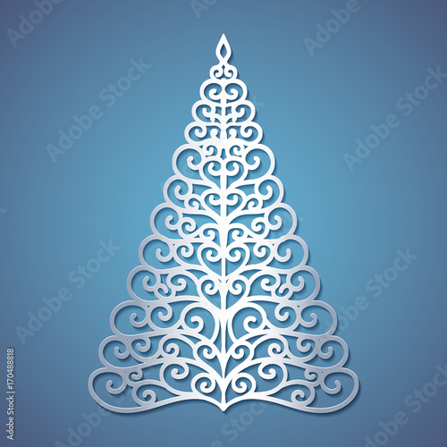 Christmas Tree Cut Out.Christmas Tree Cut Out Of Paper Template For Christmas