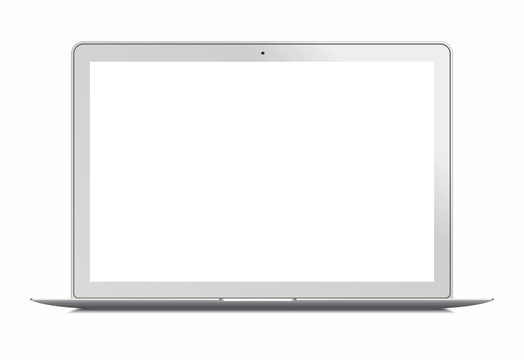 Laptop in apple Macbook Air style mockup - front view. laptop with blank screen isolated on white background. for presenting. Laptop front. Laptop -  vector illustration.Laptop with blank monitor.