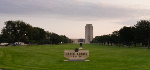 Wide Panoramic North Dakota Capital Building Bismarck