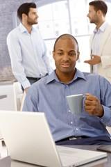 Closeup portrait of black businessman