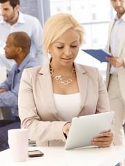Closeup portrait of busy businesswoman
