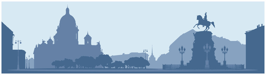Saint Isaac's Square in Saint Petersburg, Russian Landmark vector illustration, Saint Isaac's Cathedral, Emperor Nicholas I monument, Admiralty and Astoria hotel, white night silhouettes series  Fototapete