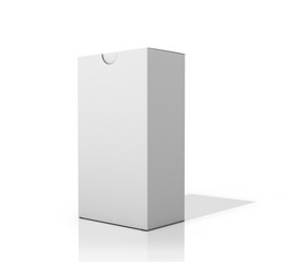 White square box on a white background. 3D illustration