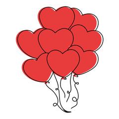 heart shaped balloons icon vector illustration design