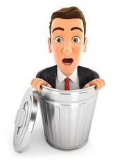 3d businessman inside trash can