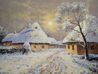 Winter landscape oil paintings, village