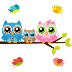 Owls family on a branch with birds