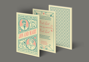 Vintage Playing Card Wedding Invitation Layout