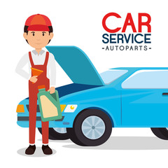 car service autoparts concept vector illustration graphic design