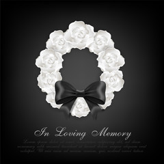 Funeral card. White roses wreath and black bow ribbon on the dark background