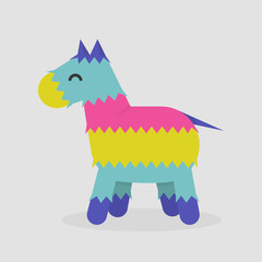 Pinata. Traditional mexican toy. Bright donkey made of paper / flat editable vector illustration, clip art