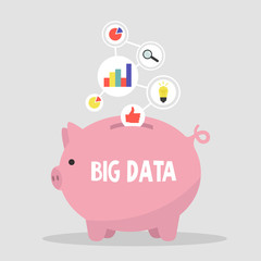 Big data collecting. Piggy bank storing data. New economy based on data. Data transfer. Flat editable vector illustration, clip art.