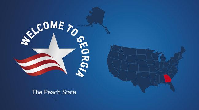 Welcome to Georgia USA map banner logo icon