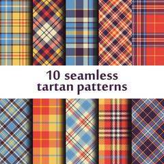 Set of 10 seamless tartan pattern