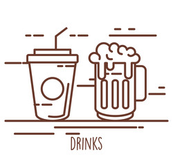 soda cup with beer vector illustration design