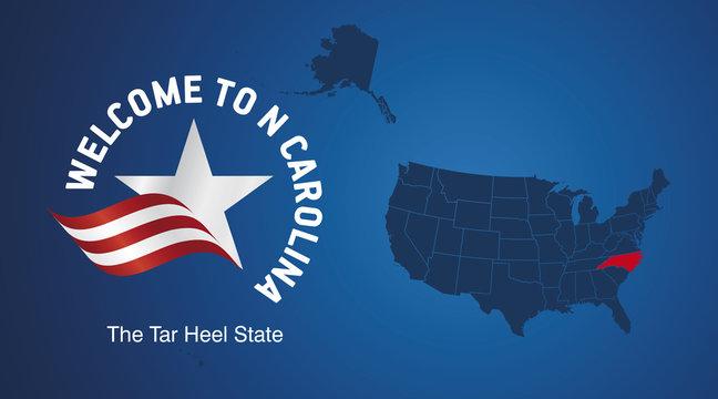 Welcome to North Carolina USA map banner logo icon