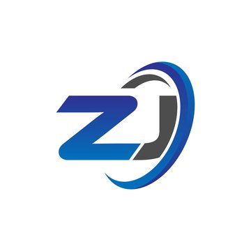 vector initial logo letters zj with circle swoosh blue gray