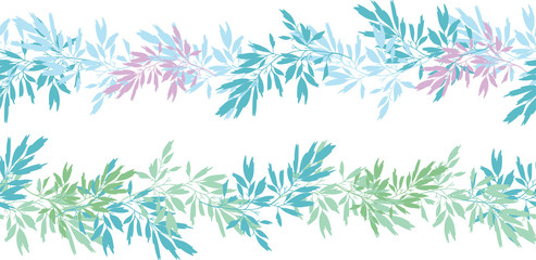 Vector blue pink tropical leaves summer horizontal seamless pattern borders set with tropical pink, blue plants and leaves on white background. Great for vacation themed fabric, wallpaper, packaging.