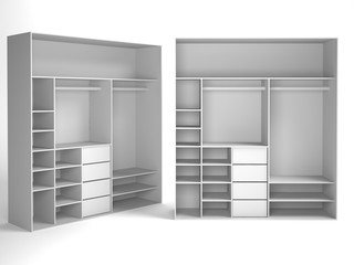 Wardrobe Isolated on White Background, 3D rendering