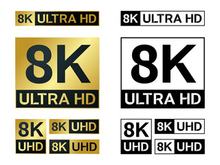 8k Ultra Hd icon. Vector 8KUHD TV symbol of High Definition