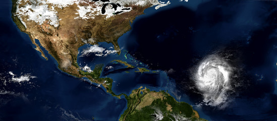 Extremely detailed and realistic high resolution 3d illustration of a hurricane approaching the southeastern caribbean islands. Shot from space. Element of this image are furnished by Nasa.
