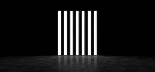 Several bright standing next strips in a dark room. 3D Render