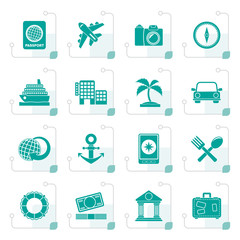 Stylized Tourism and Travel Icons - vector icon set