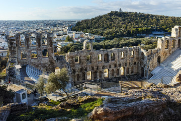 Amazing view of Propylaea - monumental gateway in the Acropolis of Athens, Attica, Greece