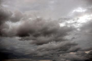 Dark ominous grey storm clouds.