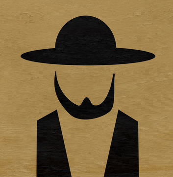 amish man with hat and beard on wood grain texture