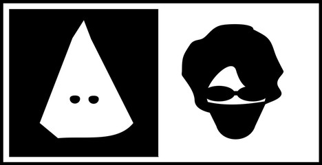 anarchist coving face and kkk hood representing hate and racism