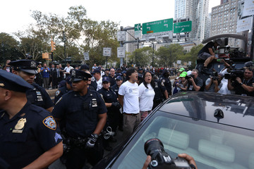 Activists are detained after blocking traffic to protest the planned dissolution of DACA in Manhattan, New York City, U.S.