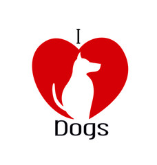 I love dogs silhouette vector logo