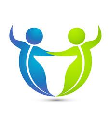 Leaf figure people dancing together vector logo
