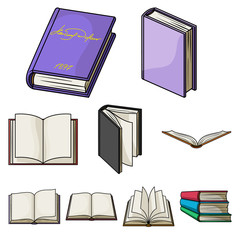 A set of pictures with books. Books, notebooks, studies. Books icon in set collection on cartoon style vector symbol stock illustration.