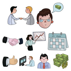 A set of pictures about the transaction, work, office. Office center, analytics.Business conference and ntgotiations icon in set collection on cartoon style vector symbol stock illustration.